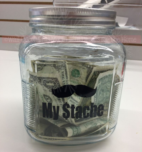 My Stache Savings Jar Decoration Vinyl Glossy Decal Stickers, Set of 2