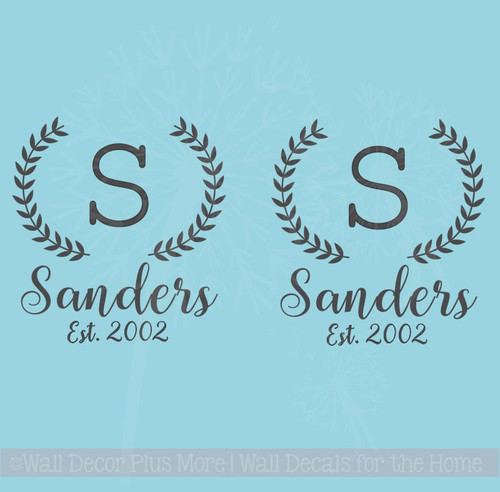 Custom Bean Bag Board Decals Stickers Laurel Wreath, Monogram Letter, Name, Date