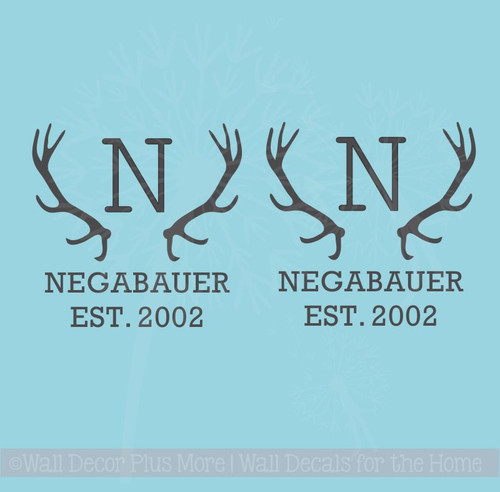 Custom Bean Bag Board Decals Stickers Antlers, Monogram Letter, Name, Date