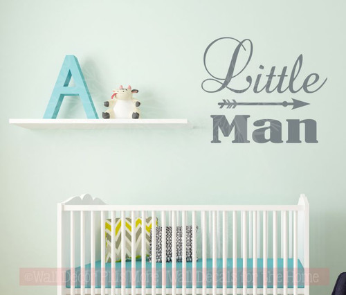 Little Man Boys Bedroom Wall Decals Vinyl Lettering Wall Words with Arrow