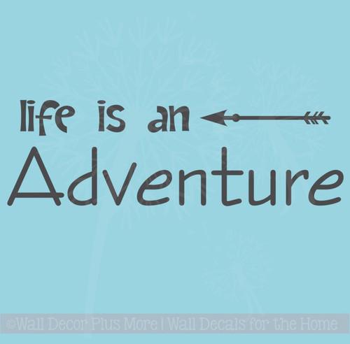 Life Is An Adventure Wall Decal Sticker With Modern Arrow Art
