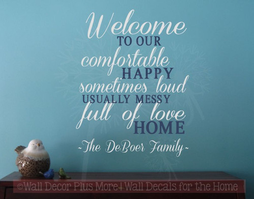 Welcome to our...Full of Love Home Family Wall Art Vinyl Lettering