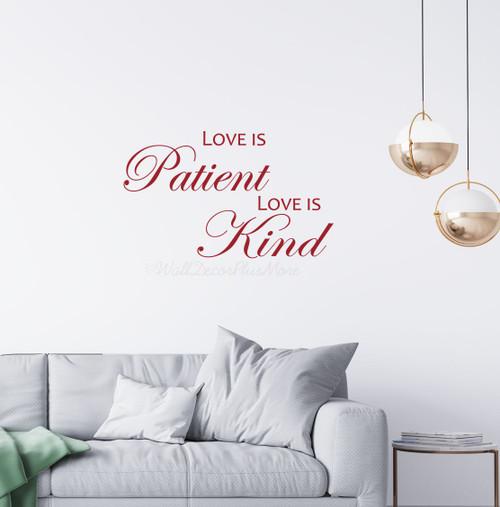 Love is Patient Love is Kind Bedroom Wall Decals Vinyl Lettering Sticker - Red