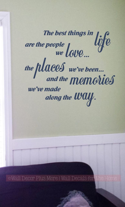Best Things in Life, Love, Memories Wall Decal Quotes Vinyl Lettering Stickers