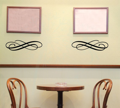 Set of 2 Swirls Scroll Wall Art Decals Vinyl Stickers-Black