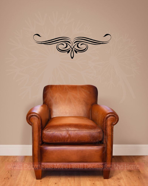 Scroll Vine Curls for Home Décor Wall Art Decal Vinyl Stickers-BLack