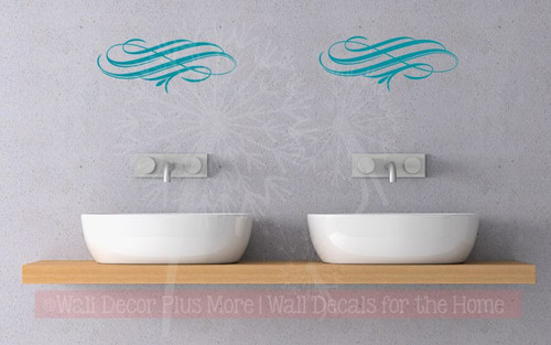 Swirly Vines Wall Art Decal Vinyl Stickers for Home Décor Set of 2-Teal