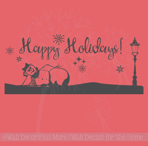 Snowman with Happy Holidays Wall Lettering Vinyl Stickers Home Décor Decals