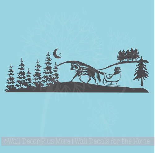 Winter Silhouette Scene Trees Horse Sleigh Wall Art Decals Vinyl Stickers
