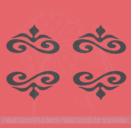 Decorative Home Décor Wall Art Decal Stickers, Set of 4 Scrolls