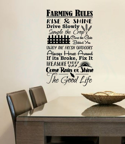 Farming Rules The Good Life Wall Lettering Vinyl Stickers Decal Quotes-Black