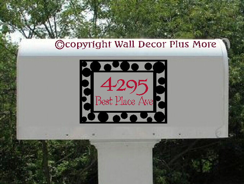 Personalized Polka Dots Mailbox Sticker Vinyl Decal