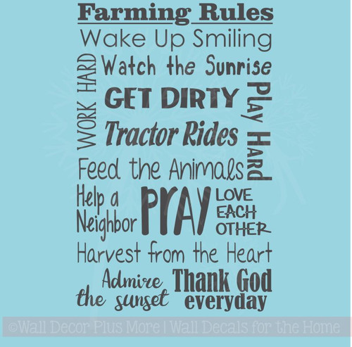 Farming Rules Subway Art Wall Lettering Quotes Vinyl Decal Sticker