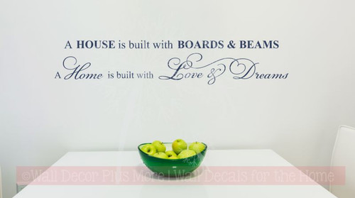 Home is Built With Love & Dreams Wall Lettering Wall Decal Vinyl Stickers