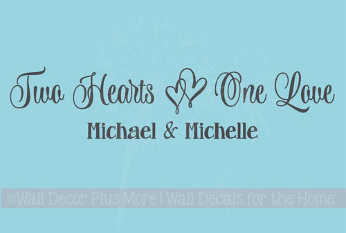 Two Hearts, One Love Wall Decals Vinyl Decal Bedroom Sayings Personalized