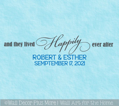 And They Lived Happily Ever After Custom Name Date Wall Decals Love Quotes