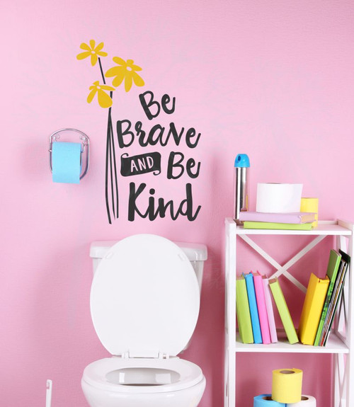 Be Brave, Be Kind Inspirational Wall Decals Sticker Quotes for the Home-Black, Mustard