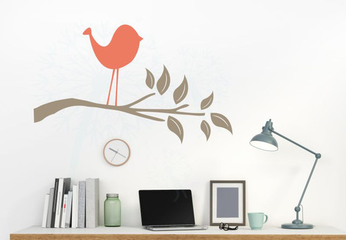 Bird Branch Wall Art Decals Wall Vinyl Stickers for Kids Room Decor-Coral, Tumbleweed