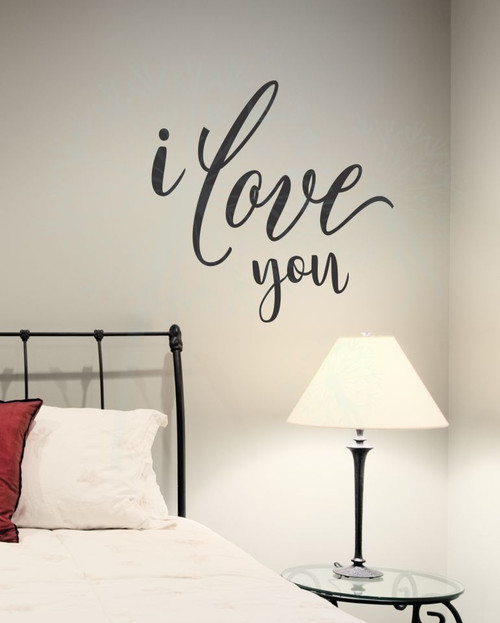 I Love You Wedding Bedroom Wall Lettering Wall Decals Sticker Quotes-Black