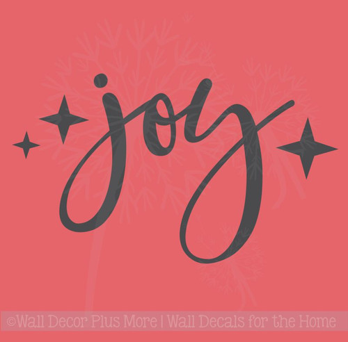 Joy with Stars Wall Lettering Vinyl Wall Decals Holiday Stickers
