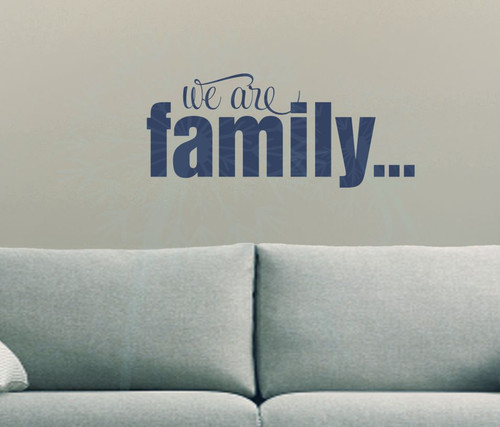 We are Family Wall Décor Lettering Wall Decal Sticker Quotes-Deep Blue