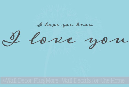 Hope You Know I Love You Wall Lettering Wall Decal Sticker Love Quotes