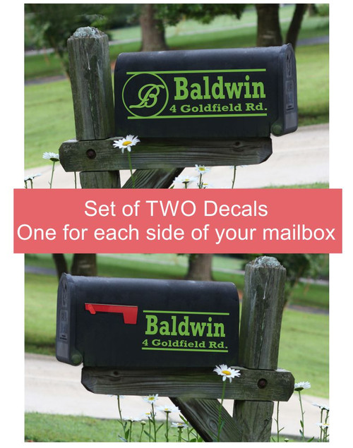 Monogram Mailbox Lettering Vinyl Decals Stickers, for Basic or Jumbo-sized Mailbox Set of 2