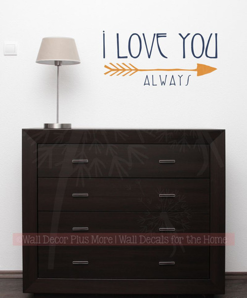 Love You Always Wall Lettering Wall Decal Sticker Love Quotes Vinyl Art-Deep Blue, Rust Orange