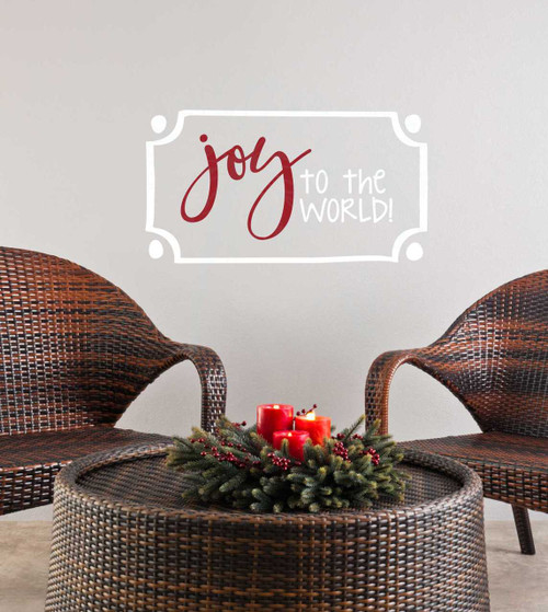 Joy to the World Wall Lettering Art Wall Decal Holiday Stickers Quote-White, Red