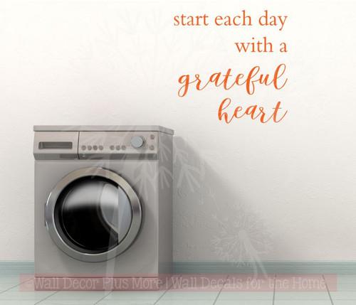 Start Each Day with a Grateful Heart Kitchen or Bath Vinyl Lettering Wall Decals Orange