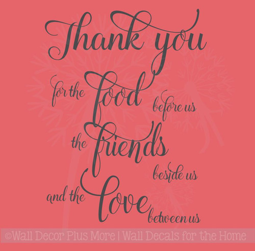 Thank You for the Food, Friends, Love Kitchen Sayings Wall Decal Stickers