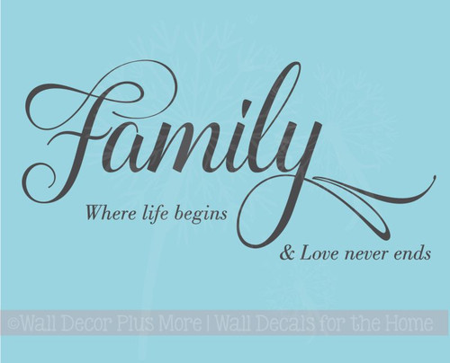 Family Life Begins, Love Never Ends Wall Art Vinyl Lettering Wall Decals