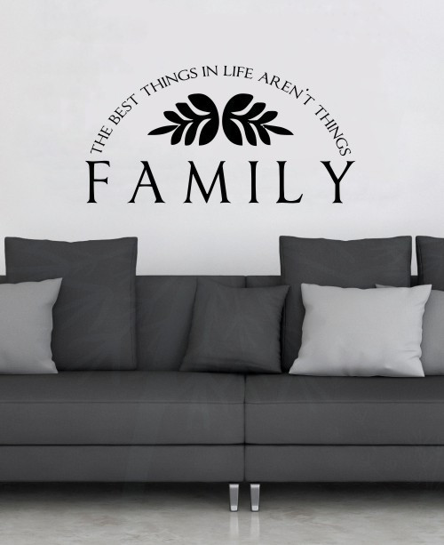 Family Best Things Aren't Things Popular Quotes Vinyl Lettering Wall Decals-Black