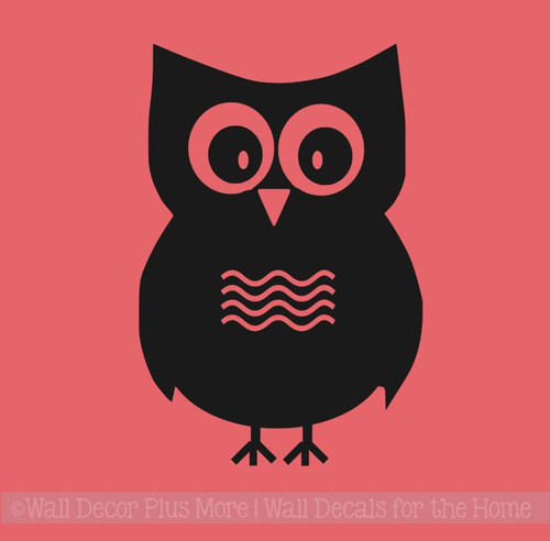 1 Large Owl with Chevrons Girls Room Vinyl Wall Art Decals Stickers-Black