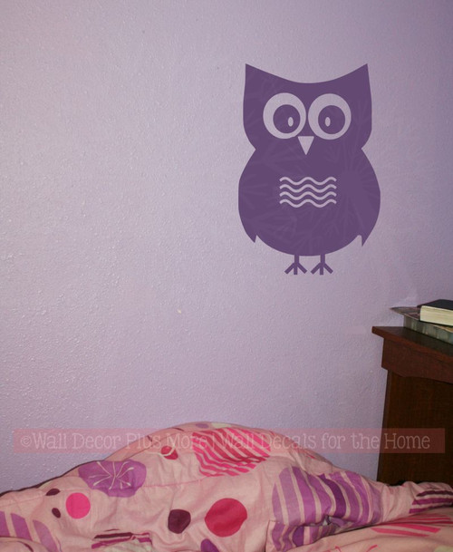 1 Large Owl with Chevrons Girls Room Vinyl Wall Art Decals Stickers-Plum