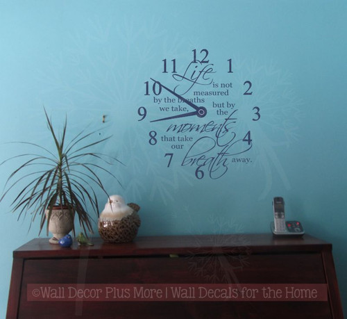 Life Measured Moments Take Your Breath Away Clock Wall Decal Vinyl Sticker for the Home-Deep Blue