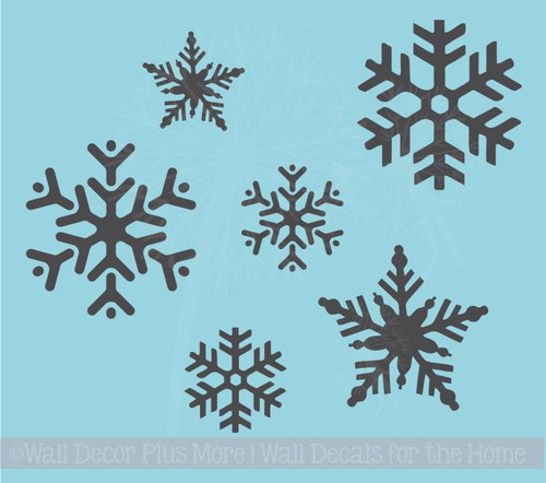 Snowflakes Winter Wall Art Decals Vinyl Stickers for Home Décor Set of 6