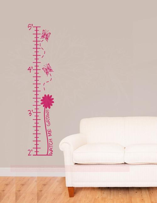 Butterflies and Flowers Growth Chart Wall Decal Sticker Art for Girls Room Décor-Hot Pink