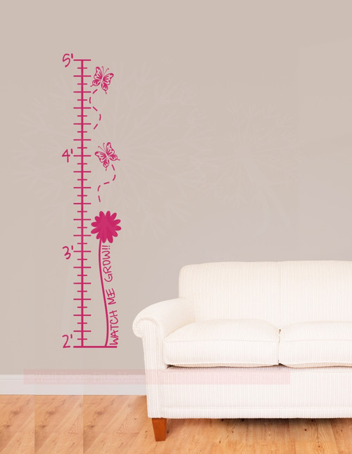 Butterflies and Flowers Growth Chart Wall Decal Sticker Art for Girls Room Décor-Hot Pink