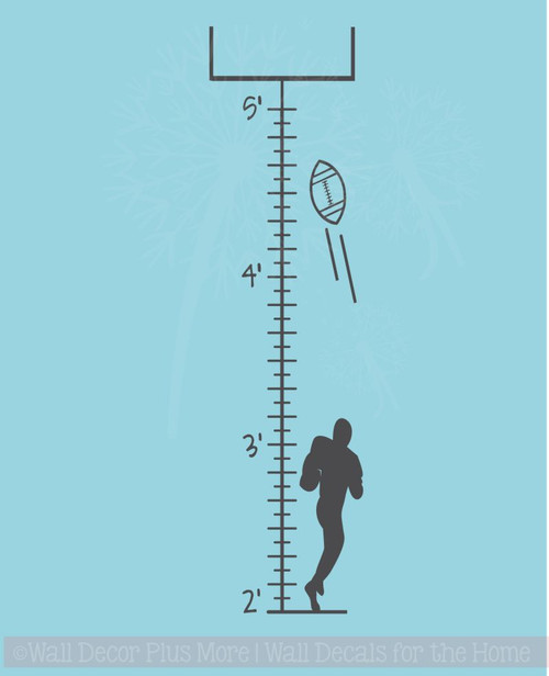 Football Growth Chart Wall Art Decal Sticker for Boys Room Décor