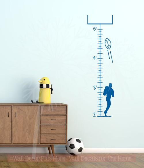Football Growth Chart Wall Art Decal Sticker for Boys Room Décor- Traffic Blue
