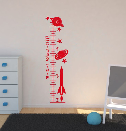 Blast Off Outer Space Rocket Ship Growth Chart Wall Decal Art Sticker-Cherry Red