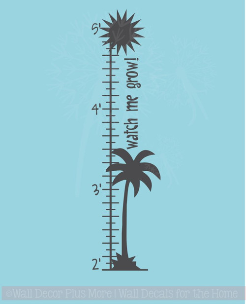 Palm Tree Growth Chart Beachy Wall Art Decal Sticker for Kids Room Décor