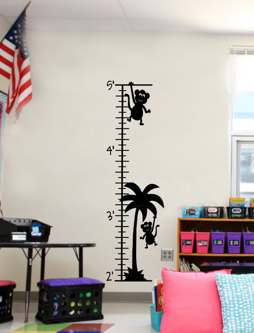 Monkey Growth Chart Wall Decal Sticker Art for Tracking Children's Growth-Black
