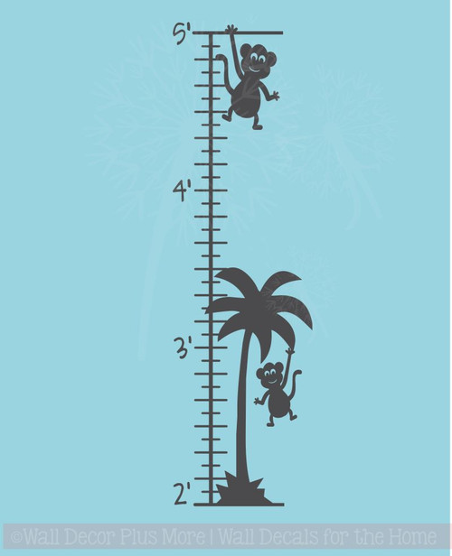 Monkey Growth Chart Wall Decal Sticker Art for Tracking Children's Growth
