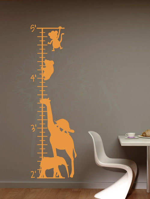 Zoo Animals Growth Chart Wall Decal Vinyl Sticker for Wall Art & Tracking Growth-Rust Orange