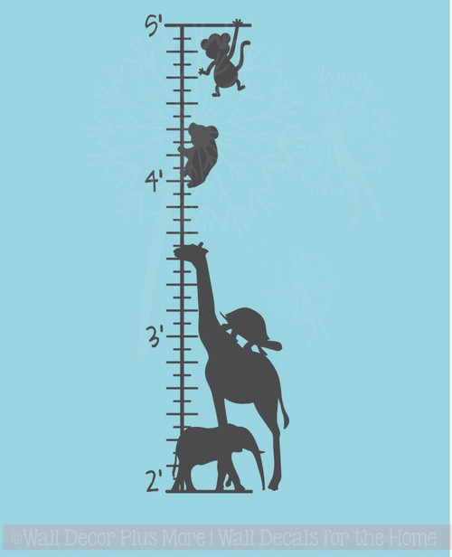 Zoo Animals Growth Chart Wall Decal Vinyl Sticker for Wall Art & Tracking Growth