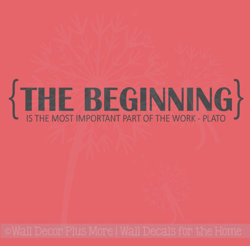 The Beginning Most Important Part Wall Lettering Vinyl Decal Positive Motivational Quotes