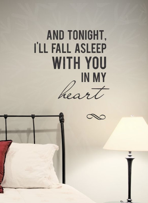 Fall Asleep With You In My Heart Vinyl Wall Decal Sticker Love Quotes Bedroom Decor-Black