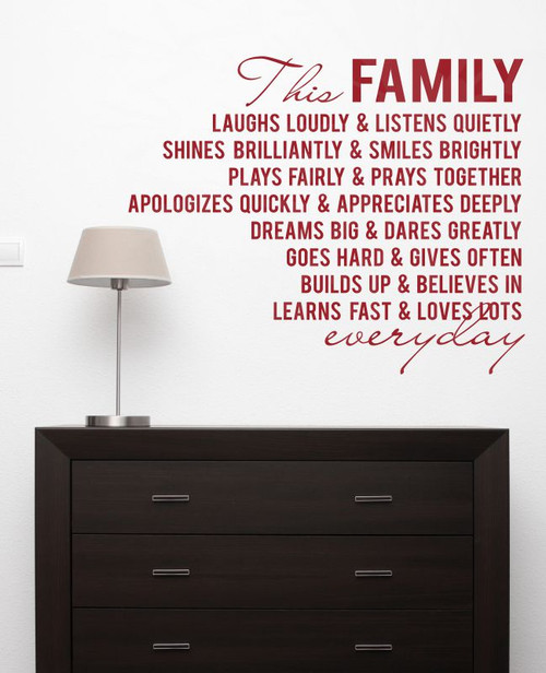 This Family Loves Lots Laughs Loudly Vinyl Lettering Family Wall Decals Quote-Red